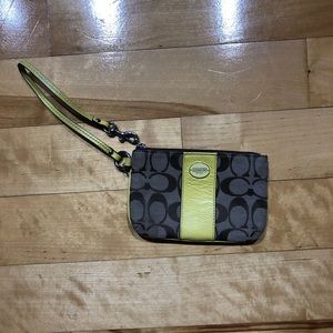 Authentic Coach Yellow Wristlet
